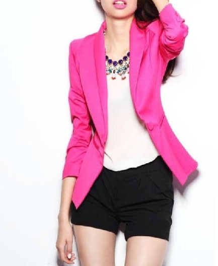 Single Breasted Tailored Blazer Wardrobe Choice: 1 Blazer that is in a bright color: pink, orange, green or blue