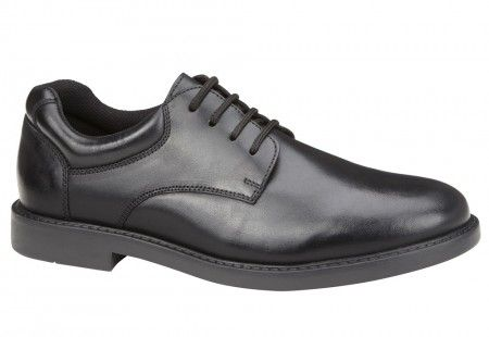 Hush Puppies Tim Black Leather School Shoes