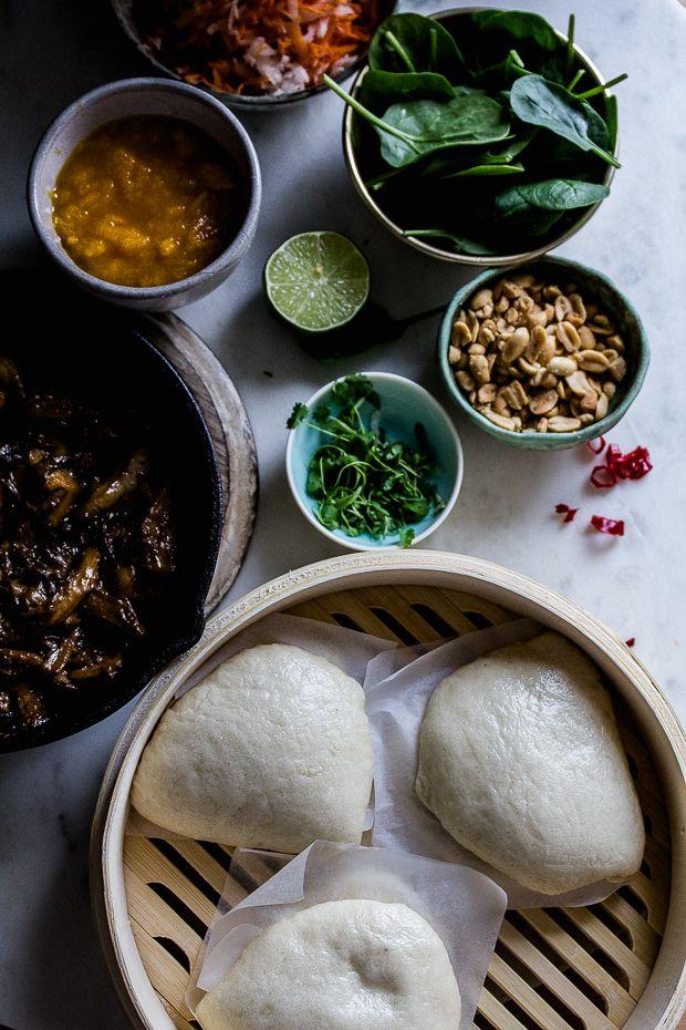 Vegan bao buns with hoisin oyster mushrooms