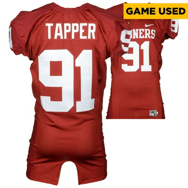 Charles Tapper Oklahoma Sooners Fanatics Authentic Game-Used #91 Crimson Jersey from 2013 Season - $499.99