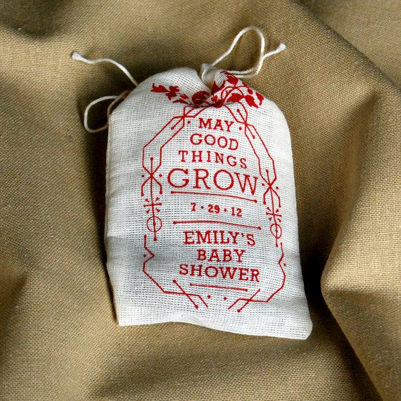 Baby Shower Personalized Seed Bomb Favors - Eco Friendly Rustic Garden Wildflowers, Edible Flowers or Herbs via Etsy.
