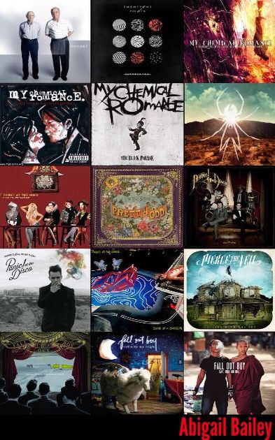 - Twenty One Pilots - My Chemical Romance - Panic! At the Disco - Pierce the Veil - Fall Out Boy -(So this is my wallpaper for my iPod. I made the edit myself ☺️)