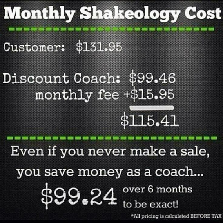 Shakeology cost for a regular customer vs. a Coach #becomeacoach #shakeology…