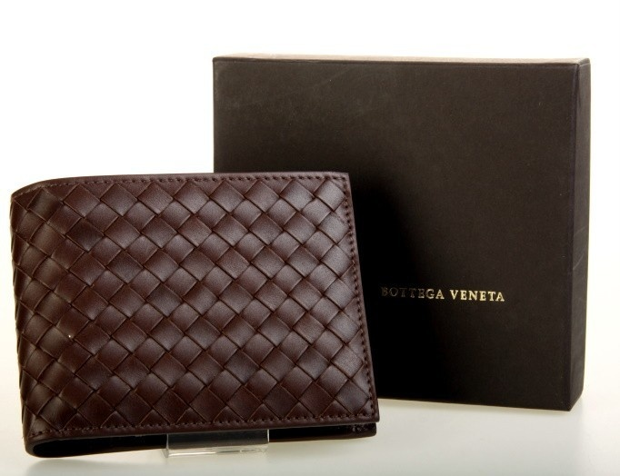 Bottega Veneta Wallet  (Men's Wallets, Chocolate Brown, Signature Woven Leather)