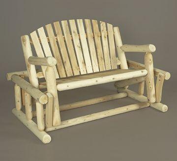 NEW Rustic Cedar Glider Patio Garden Outdoor Wood LOG Furniture Swing Rocker  | EBay