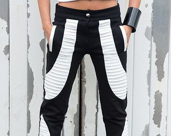 Bianco e nero in pelle pantaloni / Slim Fit Sexy Leggings / Cool pantaloni a sigaretta / due colore pantaloni Casual / Tight pantaloni - Taglie grandi!!!