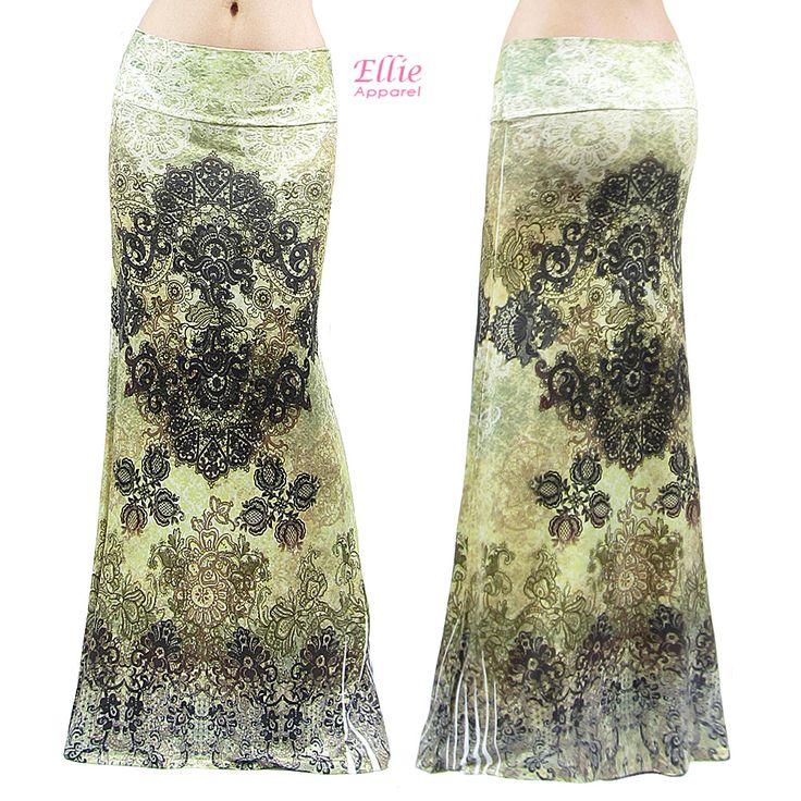 Floral Moroccan Sublimation High Waist Long Maxi Skirt (S/M/L/Xl/1Xl/2Xl/3Xl)