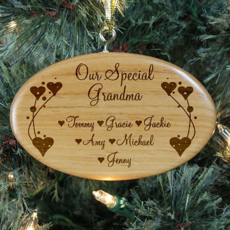 Personalized Engraved Grandma Wooden Oval Ornament - Gifts Happen Here