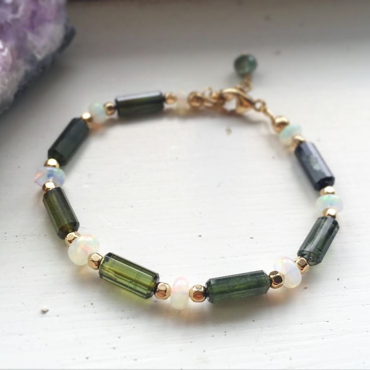 Tourmaline bracelet, tourmaline and Ethiopian opal bracelet, October birthstone, green tourmaline, birthstone bracelet by RogueCandies on Etsy https://www.etsy.com/listing/251156226/tourmaline-bracelet-tourmaline-and