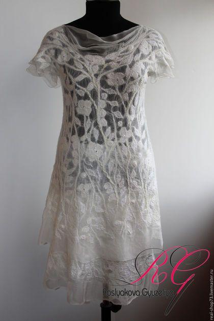 Платья ручной работы. Ярмарка Мастеров - ручная работа. Купить Платье валяное White flowers. Handmade. Цветочный, одежда