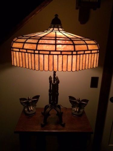 Arts crafts antique vintage slag glass leaded lamp handel bradley hubbard era nr