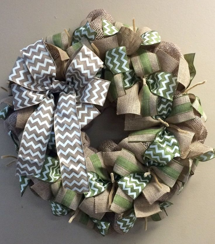 Wreath it! Burlap Wreath Wall Hanging-Natural Burlap, Sage or Moss Green - Made with out patent pending Wreath it! base
