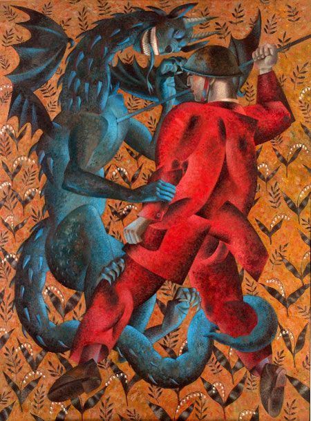 "'Battle Ground' (2007) from the ""Saints and their Beasts"" series by Welsh artist Clive Hicks-Jenkins (b.1951). Acrylic on panel, 112 x 82 cm. via the artist's site"