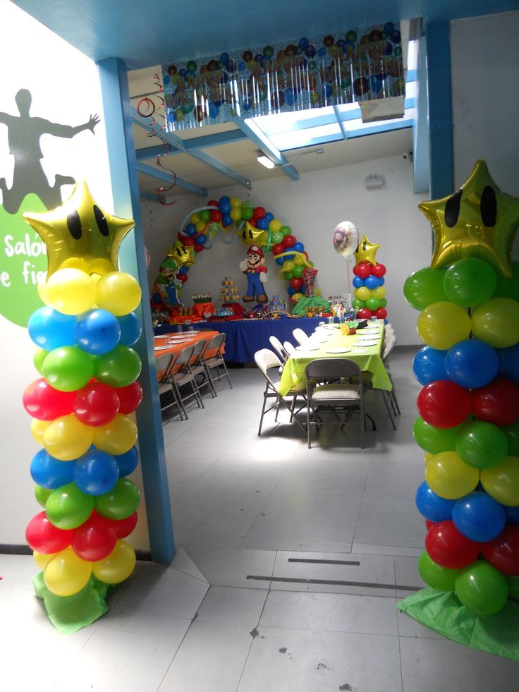 Decoración con globos super Mario bros