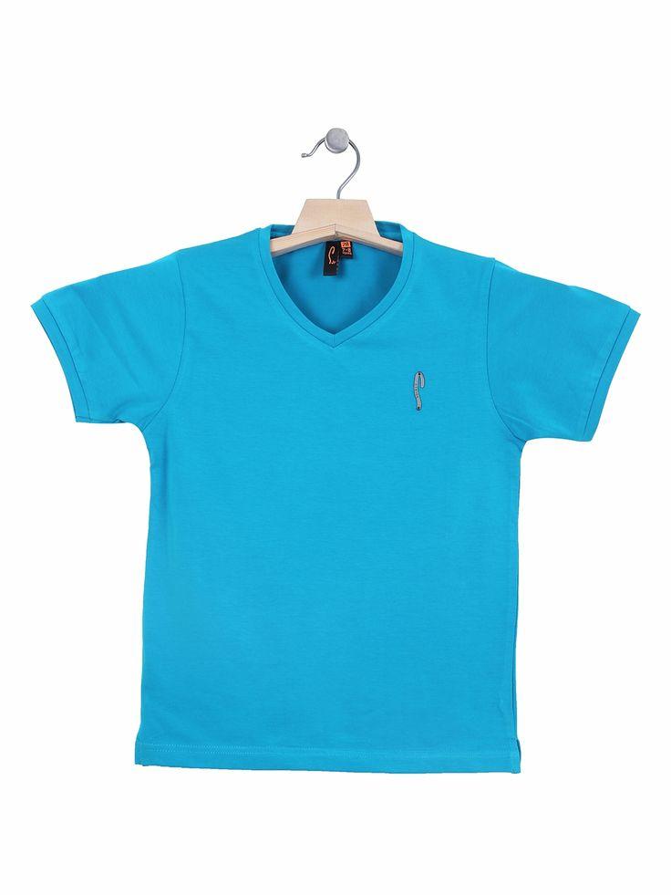 Stride Blue Casual Wear Cotton Plain T Shirt