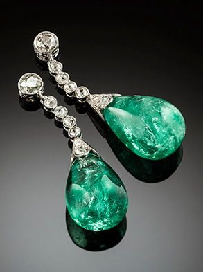 Art Deco emerald and diamond earrings  Art Deco ear pendants, old cut diamonds, emerald drops (estimated weight 38cts) in platinum.