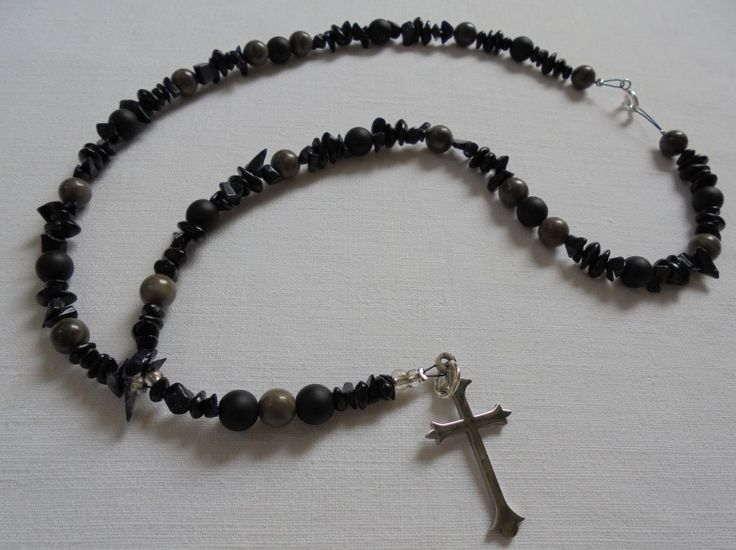 Unique Handmade Rosary of Jasper beads, Glass Black beads, Chrysolite's chips & Stainless Steel Cross. Length: 39cm