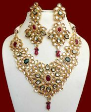 ROYAL RAJASTHANI INDIAN WEDDING JEWELRY KUNDAN MEENAKARI RUBY NECKLACE EARRINGS