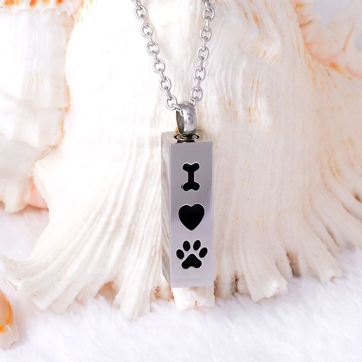 IJD8001 I Love Dog memorial Urn 316L Stainless Steel Pet Memorial jewelry cremation ashes pendant