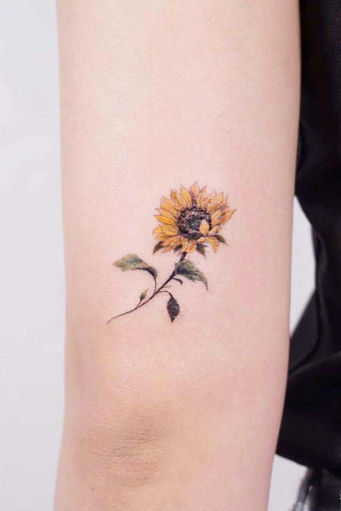 Small Minimalist Sunflower Tattoo Idea A Lot Of Beautiful Designs For Women Here You Sunflower Tattoo Shoulder Watercolor Sunflower Tattoo Sunflower Tattoo