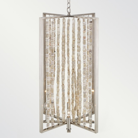 Natural bamboo coral bead 'Shanghai' chandelier.