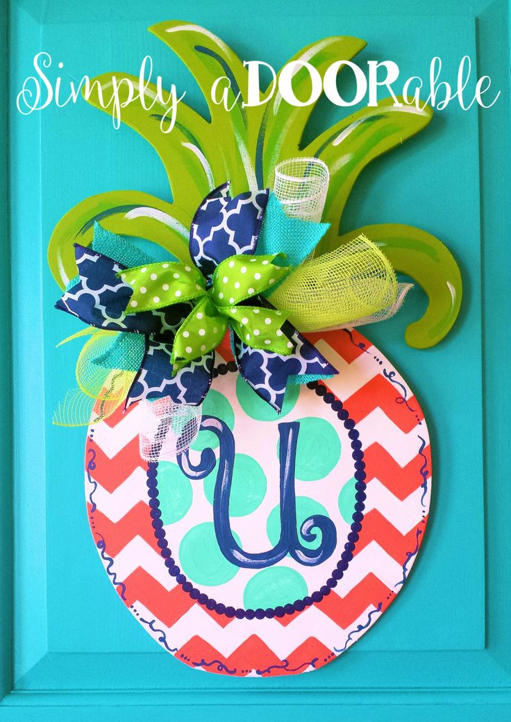 Simply aDOORable Pineapple Wood Door Hanger! Door Decoration Summer Door Decor  sc 1 st  Pinterest & 176 best Door Hanger DIY images on Pinterest | Crowns Halloween ...