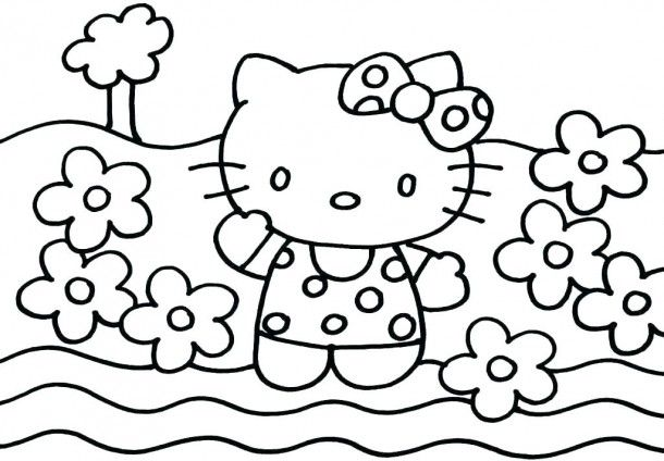 Large Coloring Sheet Hello Kitty Drawing Kitty Coloring Hello Kitty Coloring