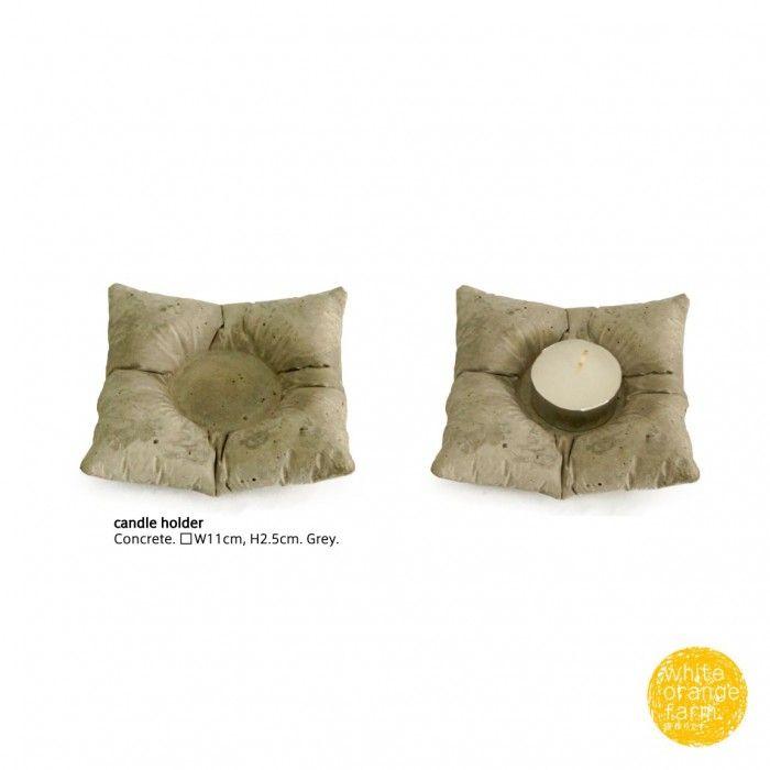 Pillow Candle Holder #whiteorangefarm #mosseash #handmade #concretedecor #candleholder #concretecandleholder