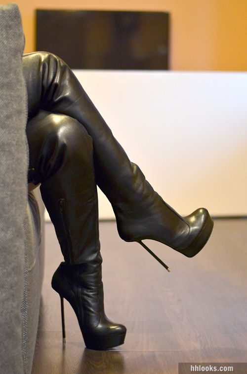 High heel boots domination