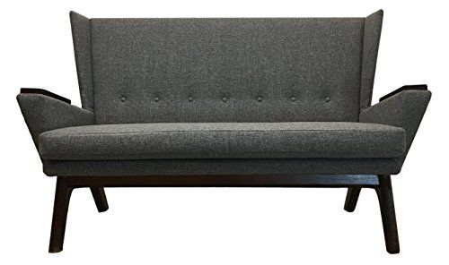 Gray Upholstered Mid Century Modern 60 Inch Grey Love Seat Sofa Mcm