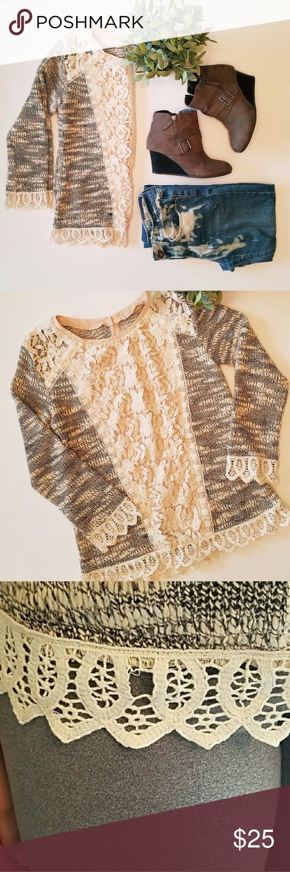 """Anthropologie champagne and strawberry sweater A beautiful sweater with nice detail lacing Colors include black, cream, and Peach. Open to offers Bust 18 """" Armpit down 16"""" Photo 5 will show a small imperfection on the lower half of the shirt. You can see in photo 3. you can hardly  notice it since it has crochet detail at the bottom. Anthropologie Sweaters"""
