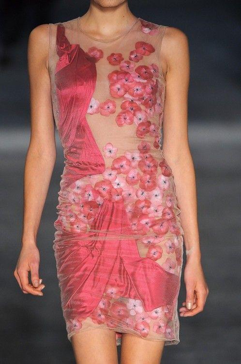 Alexander McQueen.  S/S 2009Cherries Blossoms, Alexander Mcqueen, Spring Dresses, Fashion Style, Alexandermcqueen, Girls Fashion, Lights Spring, Silk Flower, Floral Dresses