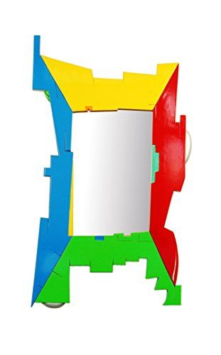 "Multicoloured Decorative Frame Wall Mirror (20"" x 34"") - Puzzled by Marvellous Mirrors. A multicoloured decorative wall mirror to enhance every uninspiring wall. This bright and stunning art piece exists of four sections of angular architectural 3 dimensional elements. All brought into one picture frame. The only reason why you know they exist is because they are in different colors. Although it is one piece, all these parts still have to come together. And that's why each piece locks..."