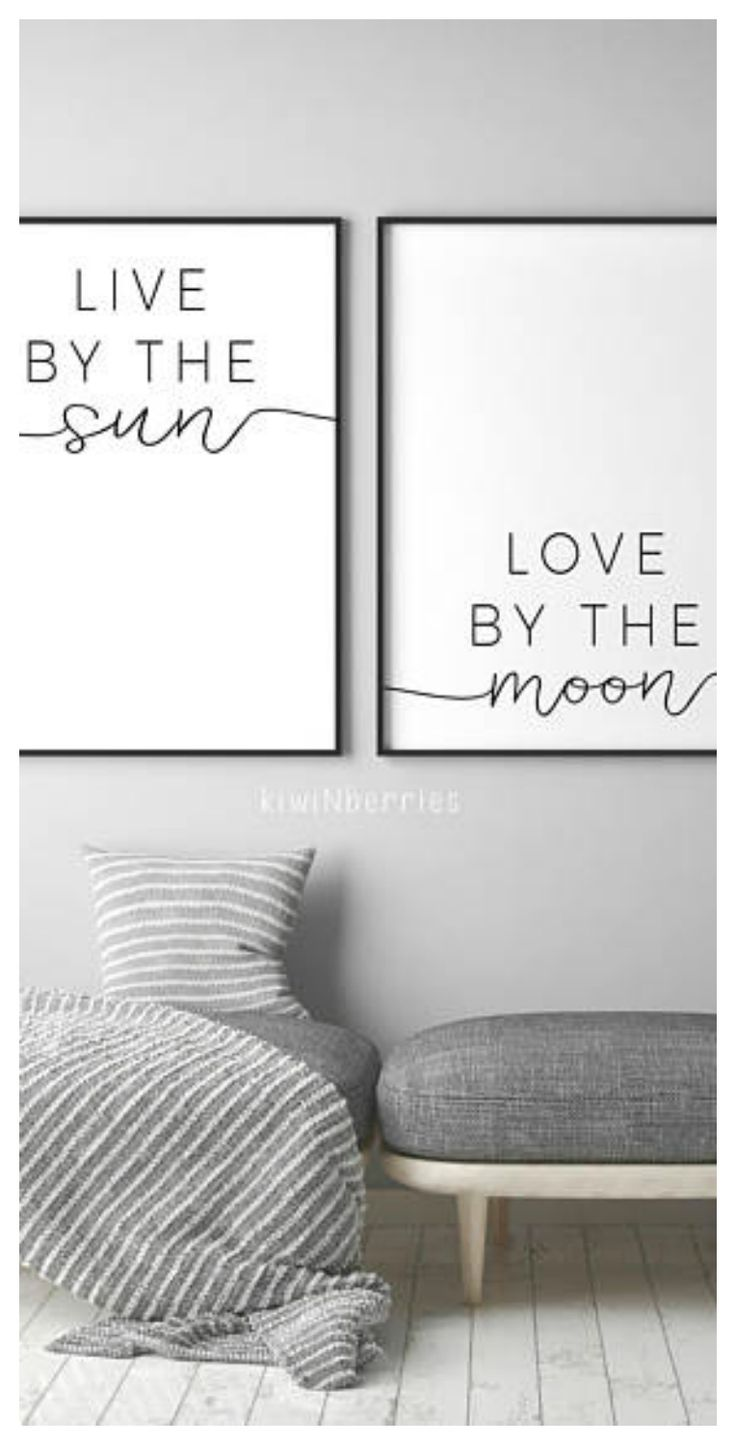 Live By The Sun Love By The Moon Print - Live By The Sun Poster - Double 2 prints - Typography - Text poster - Black and white #ad