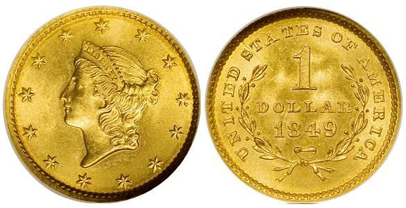 "Liberty Head Type 1 Gold Dollar 1849-1854. The 1849 version of this coin actually has two different varieties. One with an open wreath and one with it closed. The open wreath is shown in the image. If this coin had a ""C"" denoting Charlotte NC as the mint that made it, it would be an excessively rare piece, commanding tens, if not hundreds of thousands of dollars."