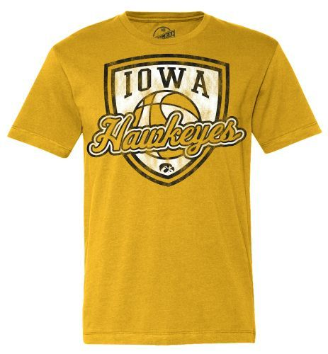 Iowa Hawkeyes Basketball Retro Shield Short Sleeve Tee-Gold
