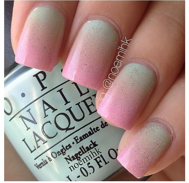 17 Spring Nail Trends nail art beauty ombre look  blue pink peach colours