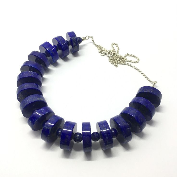 Lapis Lazuli Necklace - Lapis Necklace Disk and Round Beads - 326 ct