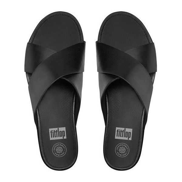FitFlop Aix™ Leather Slide Sandals ($130) ❤ liked on Polyvore featuring shoes, sandals, black, black shoes, kohl shoes, palms shoes, beach shoes and palm beach sandals