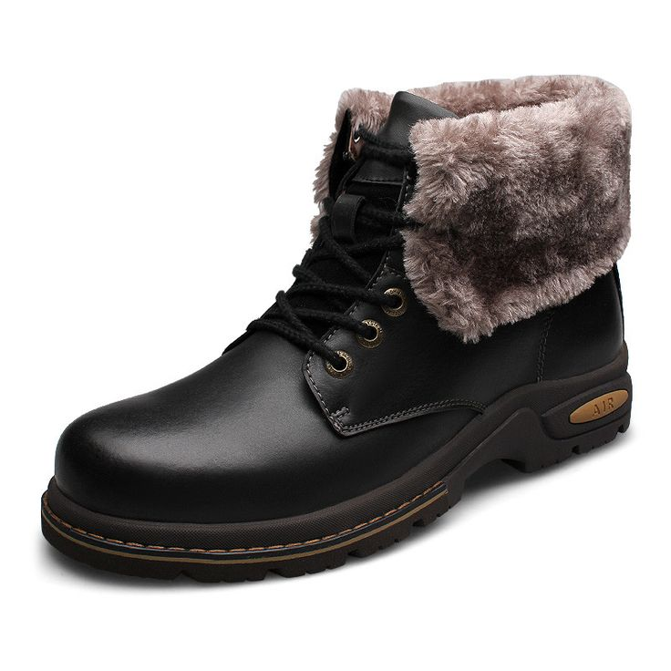Genuine leather Men Winter Boots Size 38~47 Russian Style Handmade Warm Plus Size Men Winter Shoes #80082