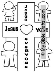 Cross coloring page and craft iwth multi-cultural kids
