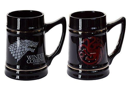 Game of Thrones Collectible Ceramic Steins, Set of 2, Stark and Targaryen