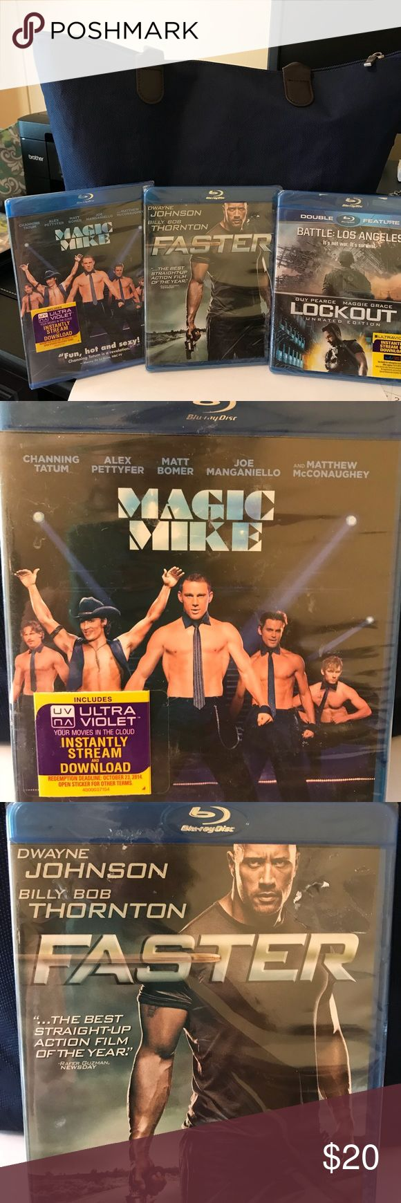 🎄3 BLU-RAY DVD'S🎄. NEW still in plastic. 🎄3 BLU-RAY DVD'S - Great Stocking Stuffers🎄 • Faster - Dwayne Johnson & Billy Bob Thornton • Magic Mike • Double Feature - Battle Los Angeles and Lookout Other