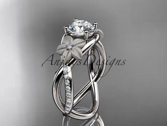 anillo de diamante platino hoja y vid boda, anillo de compromiso ADLR90