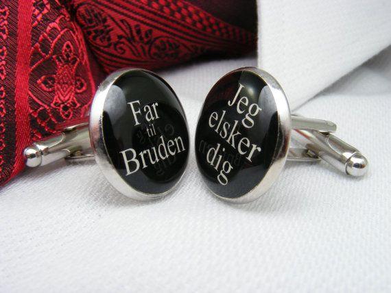 Far til Bruden - Jeg elsker dig - Manchetknapper - Father of the Bride - I love you - Danish - Cufflinks - Wedding Ideas - Mens Accessories on Etsy, $39.00 CAD