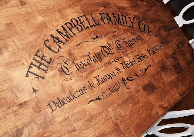 Stencil custom family name on table diy pinterest for Stenciled dining room table