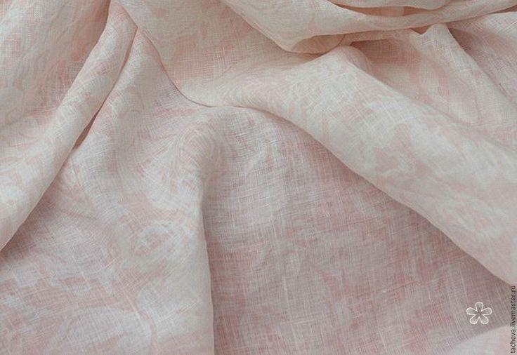 Купить Лен натуральный-ваниль - бледно-розовый, лен, льняная ткань, натуральные ткани
