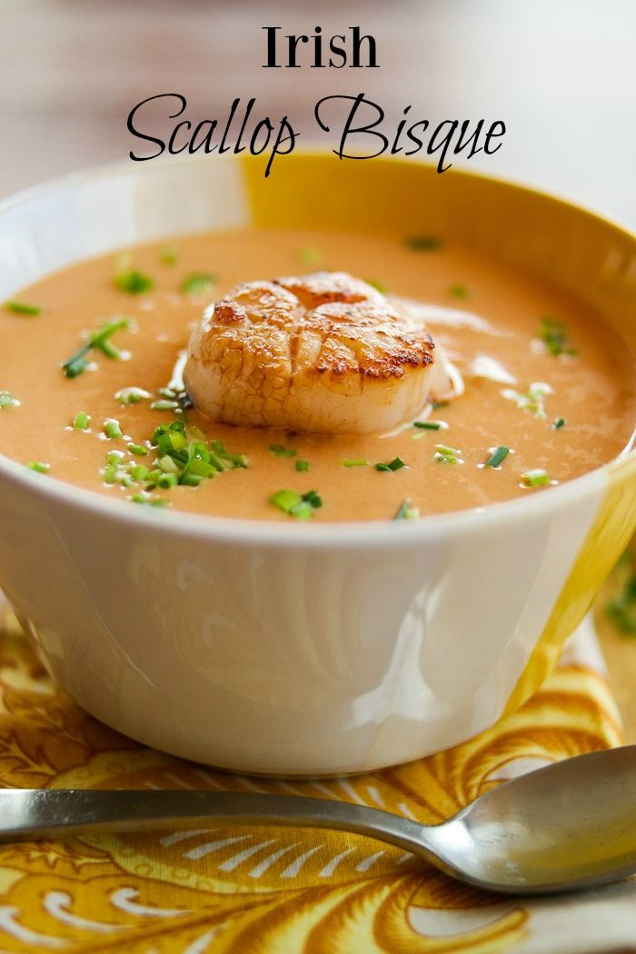 Irish Scallop Bisque - Silky, creamy bisque with a perfectly seared scallop!