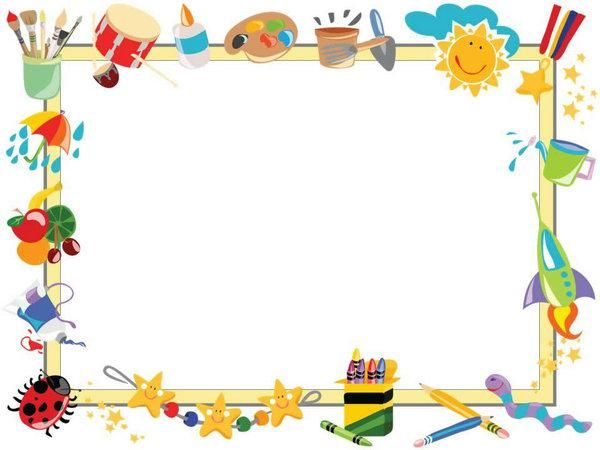 cartoon children painted border ppt template  ppt