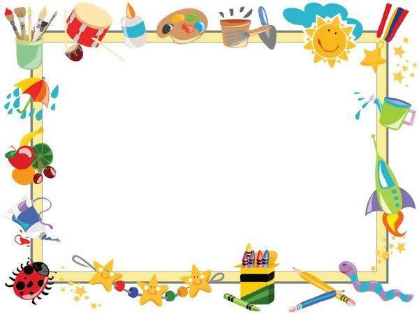 cartoon children painted border ppt template ppt